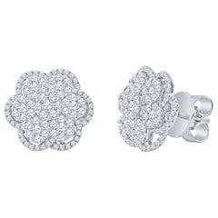 1.94 Carat Diamond Floral Cluster Earrings, 18 Karat White Gold