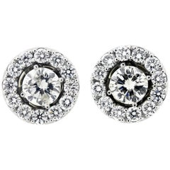 1.94 Carat Diamond Stud Earrings with Gold and Diamond Jackets