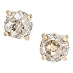 1.94 Carat Diamond Yellow Gold Stud Earrings