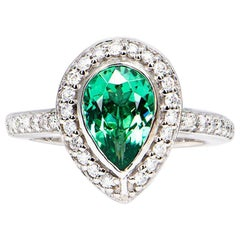 1.94 Carat Green Tourmaline Pear Diamond Cluster Ring Platinum Natalie Barney
