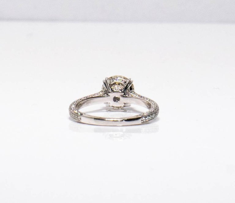 Contemporary 1.94 carat Old Euro cut Diamond Engagement Ring For Sale
