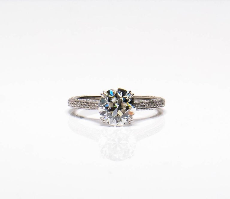 Old European Cut 1.94 carat Old Euro cut Diamond Engagement Ring For Sale