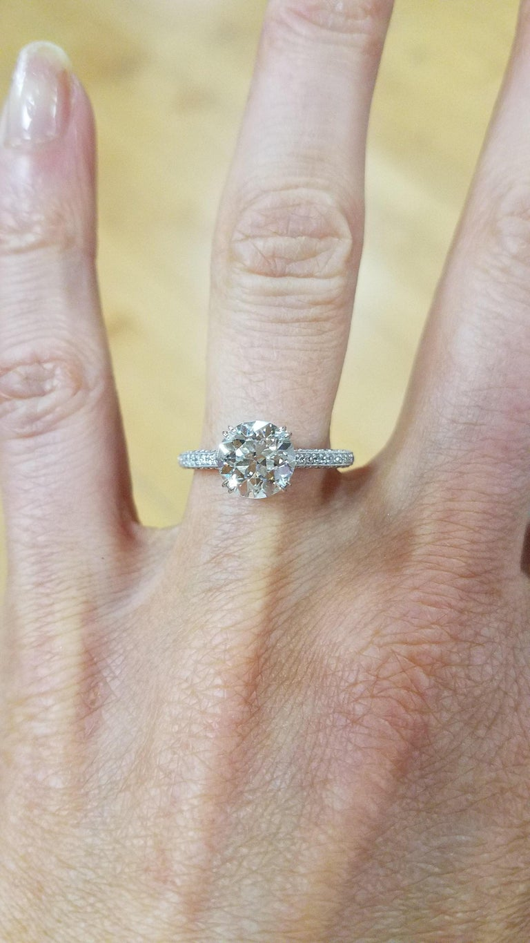 1.94 carat Old Euro cut Diamond Engagement Ring In New Condition For Sale In New York, NY