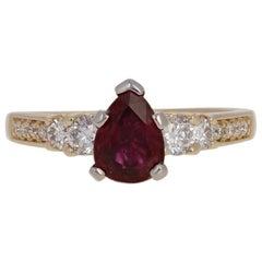 1.94 Carat Pear Cut Ruby and Diamond Ring, 14 Karat Yellow Gold GIA Engagement