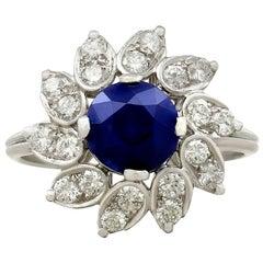 1.94 Carat Sapphire and Diamond Platinum Dress Ring, circa 1970
