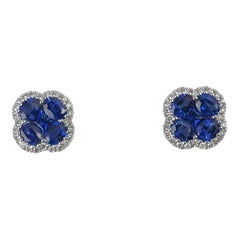 1.94 Carat Vivid Blue Sapphire and 0.21 Carat Diamond Clover Stud Earrings