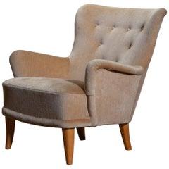 1940-1950 Beige Velvet Lounge Chair by Carl Malmsten for O.H. Sjögren Sweden