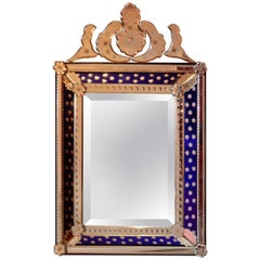1940-1950 Venetian Mirror N3 with Pediment, Blue Glass Adorned with Stars
