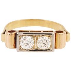1940 2 Diamonds 18 Karat Yellow Gold Signet Ring