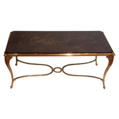 Coffee Table Tray Lacquer of China Style Maison Baguès in Gilded Bronze