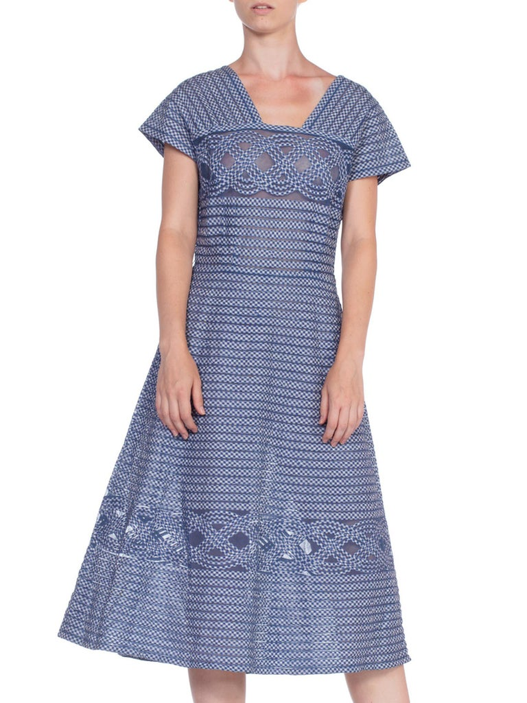 Gray 1940/50's Cotton Gingham On Net Fit And Flare Dress For Sale