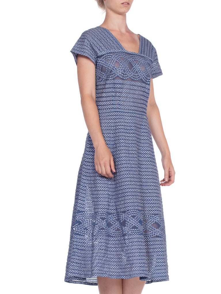 1940/50's Cotton Gingham On Net Fit And Flare Dress For Sale 1