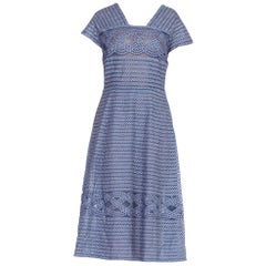 1940/50's Cotton Gingham On Net Fit And Flare Dress