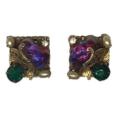 1940/50s Jeweled Clip Earrings