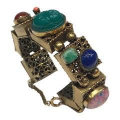 1940/50s Memory Wire Cabochon Bracelet