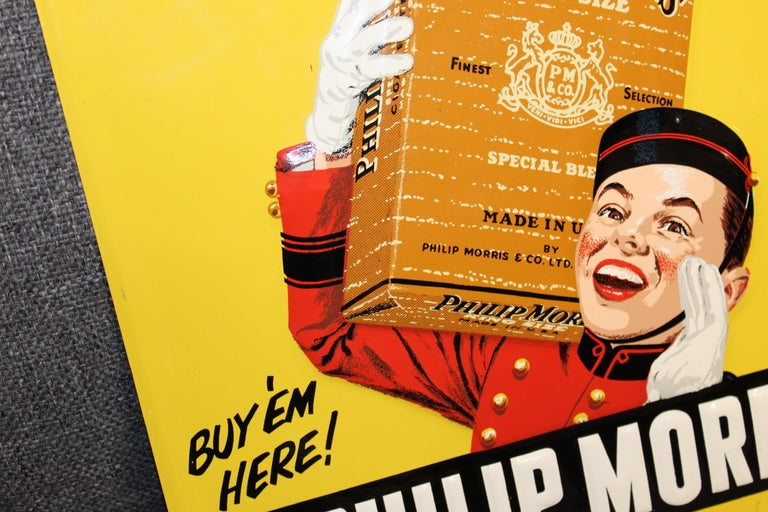 1940s-1950s Philip Morris Tin Sign For Sale 5