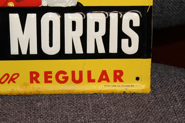 1940s-1950s Philip Morris Tin Sign For Sale 6