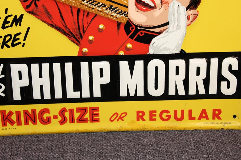 1940s-1950s Philip Morris Tin Sign For Sale 7