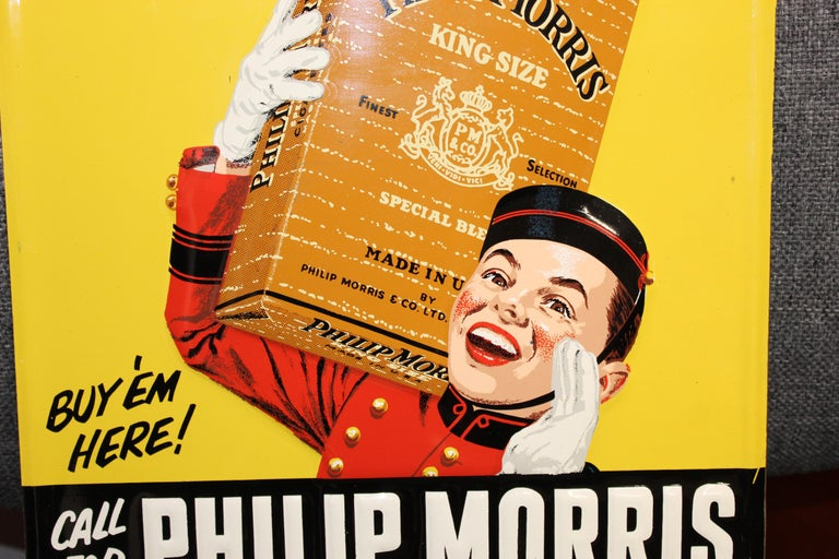 1940s-1950s Philip Morris Tin Sign For Sale 8