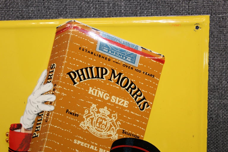 1940s-1950s Philip Morris Tin Sign For Sale 9