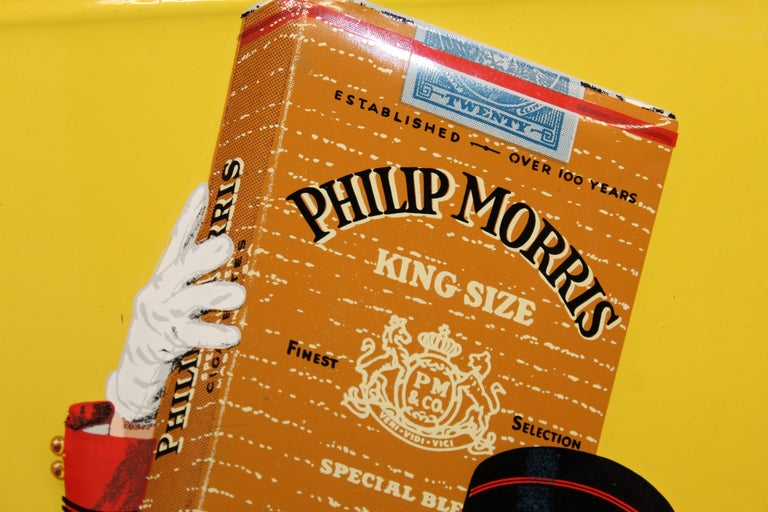 1940s-1950s Philip Morris Tin Sign For Sale 10