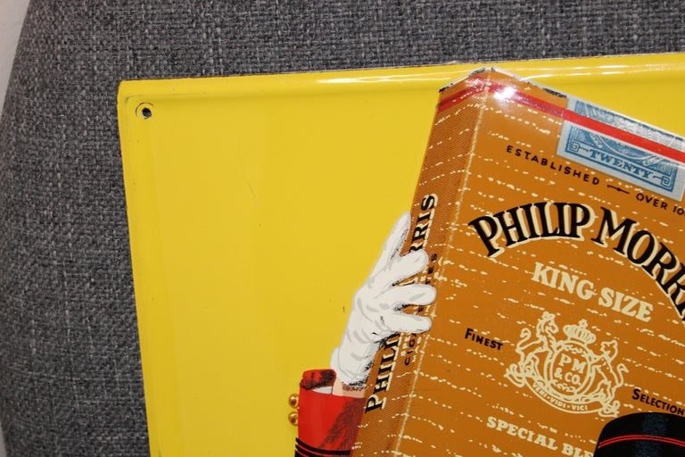 1940s-1950s Philip Morris Tin Sign For Sale 11
