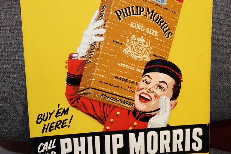 American 1940s-1950s Philip Morris Tin Sign For Sale