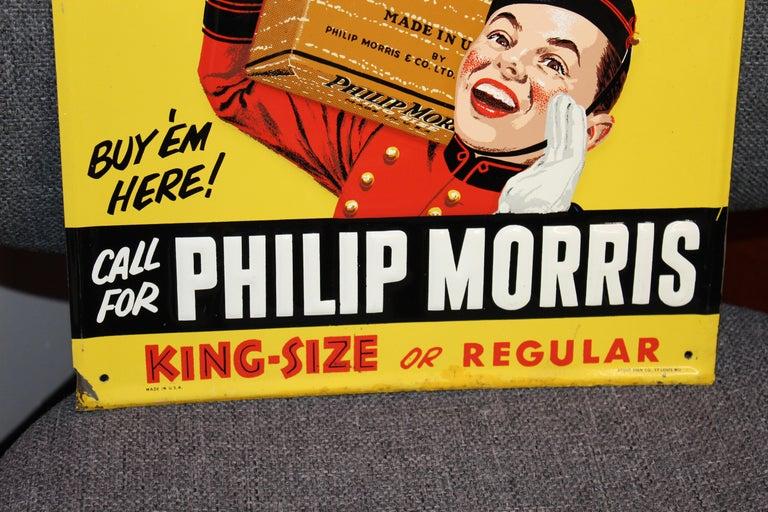 1940s-1950s Philip Morris Tin Sign In Fair Condition For Sale In Orange, CA