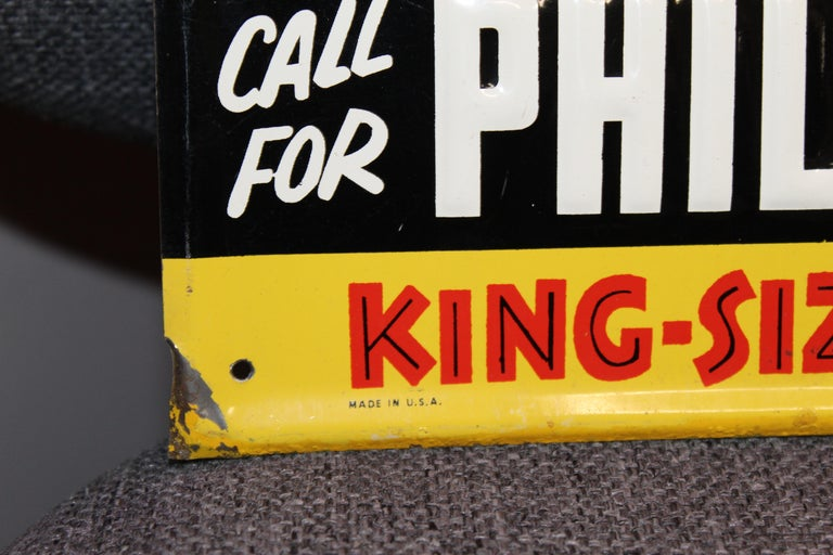 Late 20th Century 1940s-1950s Philip Morris Tin Sign For Sale