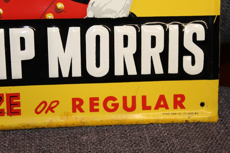 1940s-1950s Philip Morris Tin Sign For Sale 1