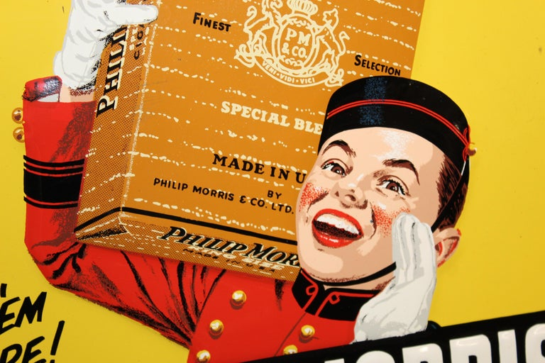 1940s-1950s Philip Morris Tin Sign For Sale 2
