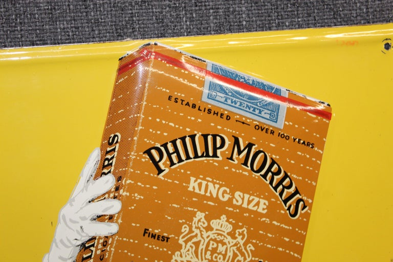 1940s-1950s Philip Morris Tin Sign For Sale 3