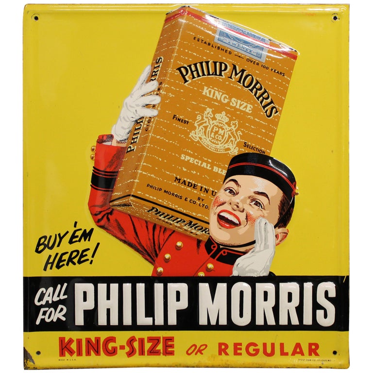 1940s-1950s Philip Morris Tin Sign For Sale