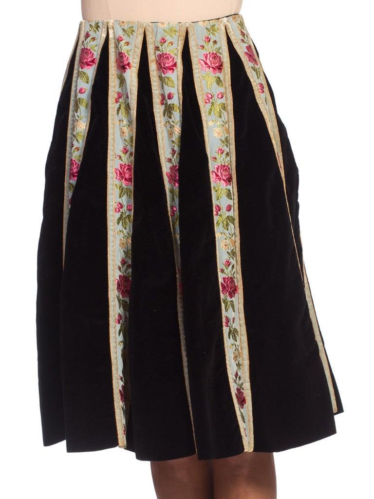 b75ac89fce82 Women's 1940/50's Velvet + Silk Ribbon Skirt Made in Italy from Bergdorf  Goodman xs