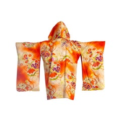 2000S Orange Silk Hoodie Made From 1940S Japanese Kimono