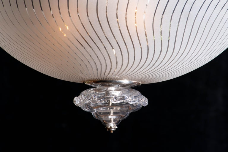 1940. Beautiful Art Nouveau crystal / art glass (partly mouth blown) chandelier