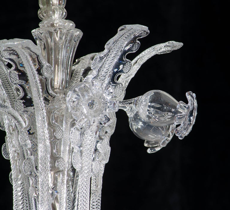 Swedish 1940 Art Nouveau Crystal Art Glass Chandelier by Fritz Kurz for Orrefors Sweden For Sale