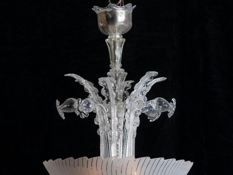 Mid-20th Century 1940 Art Nouveau Crystal Art Glass Chandelier by Fritz Kurz for Orrefors Sweden For Sale