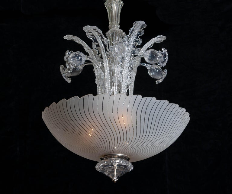 1940 Art Nouveau Crystal Art Glass Chandelier by Fritz Kurz for Orrefors Sweden For Sale 1