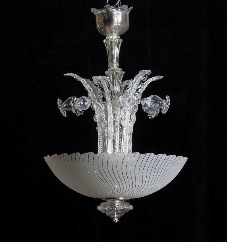 1940 Art Nouveau Crystal Art Glass Chandelier by Fritz Kurz for Orrefors Sweden For Sale 2