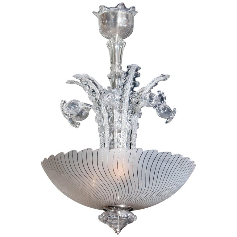 1940 Art Nouveau Crystal Art Glass Chandelier by Fritz Kurz for Orrefors Sweden For Sale