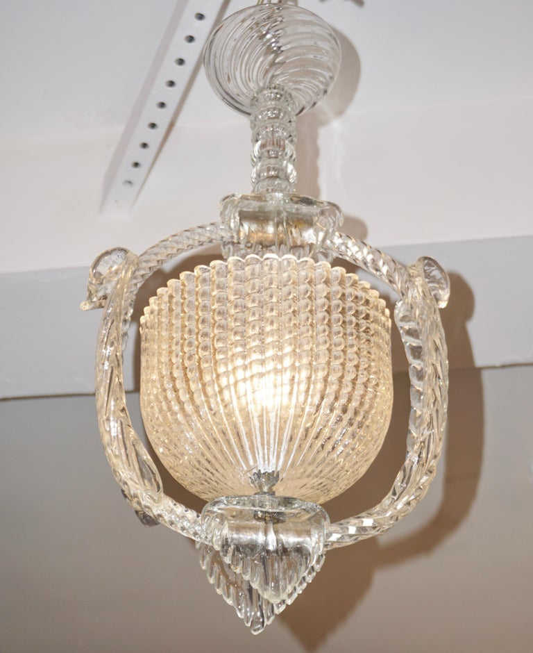 1940 Barovier Italian Art Deco Crystal Clear Murano Glass Basket Chandelier For Sale 4