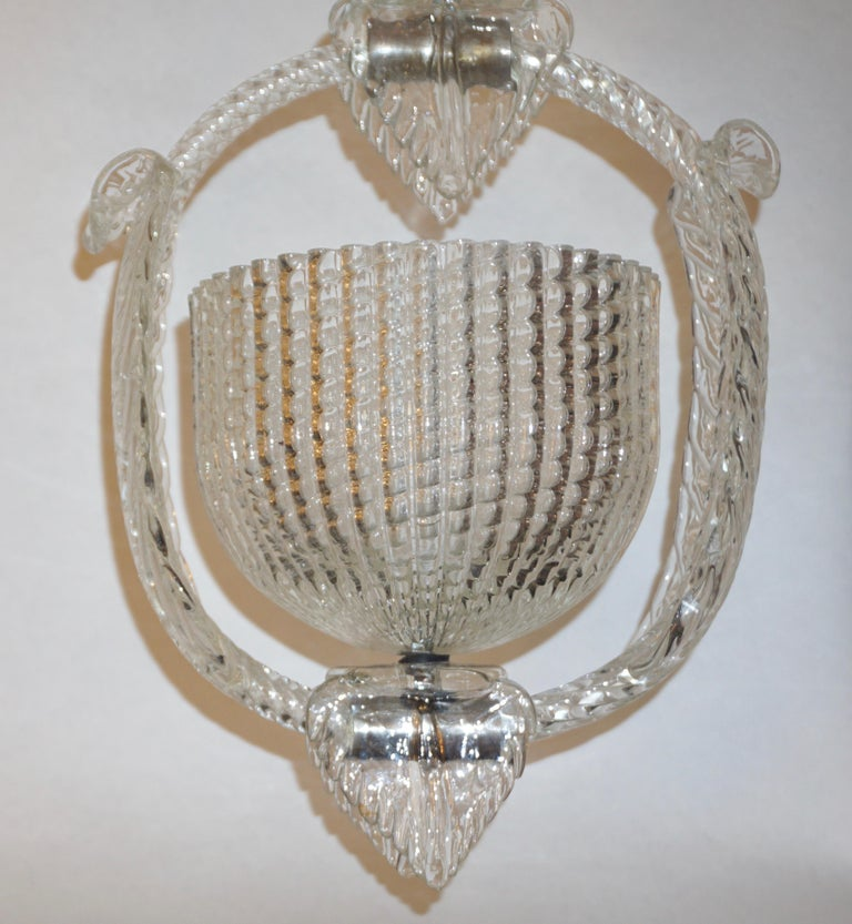 1940 Barovier Italian Art Deco Crystal Clear Murano Glass Basket Chandelier For Sale 5