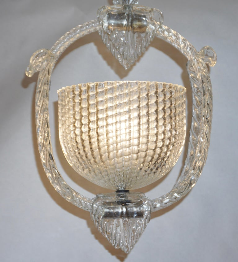 1940 Barovier Italian Art Deco Crystal Clear Murano Glass Basket Chandelier For Sale 6