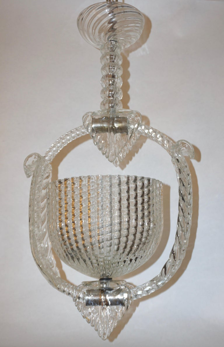 1940 Barovier Italian Art Deco Crystal Clear Murano Glass Basket Chandelier For Sale 8