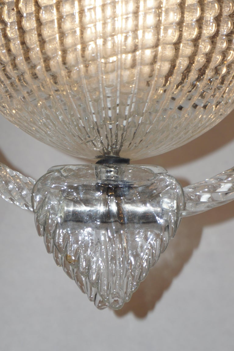 1940 Barovier Italian Art Deco Crystal Clear Murano Glass Basket Chandelier In Good Condition For Sale In New York, NY