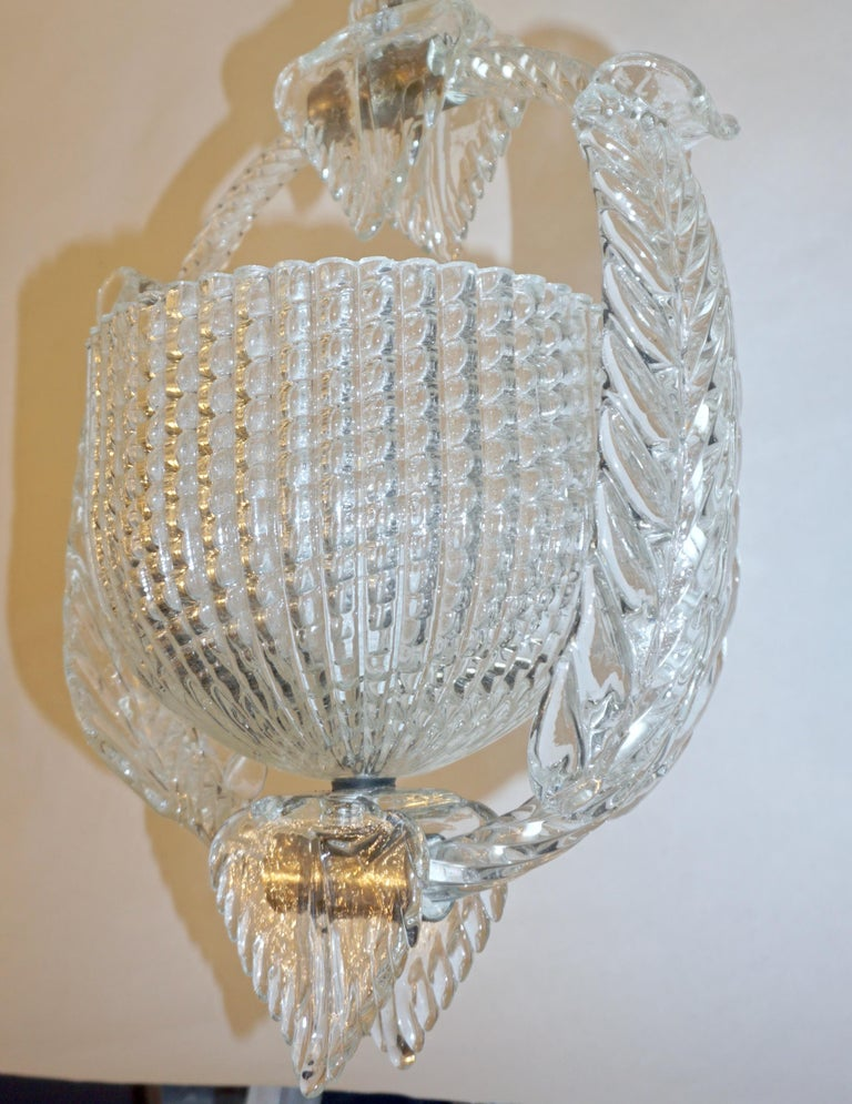 1940 Barovier Italian Art Deco Crystal Clear Murano Glass Basket Chandelier For Sale 1