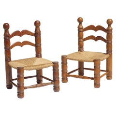 1940 Charles Dudouyt Wicker and Oak Pair of Chair