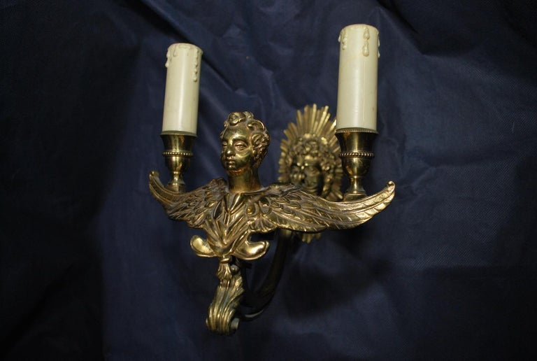 Mid-20th Century 1940 French antique bronze sconces For Sale