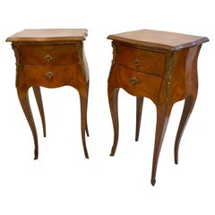 1940 French Louis XV Revival Pair of Inlaid Rosewood Walnut 2-Drawer Side Tables
